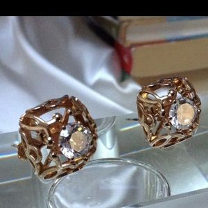 NWTVintage Lrg Crystal Filigree Earrings RetroGlam